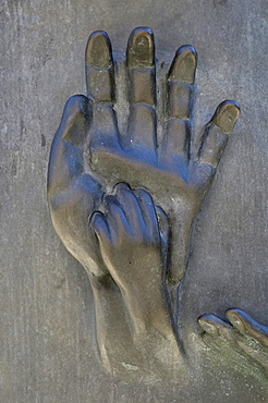 Hands, bronze sculpture Erden Engel, angel on earth, St. Nikolai Memorial, Hamburg, Germany, Europe