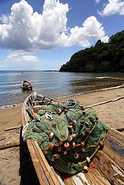Fishing boat on a beach with a net, sea, horizon, clouds, Saint Lucia, LCA, Windward Islands, Lesser Antilles, Caribbean, Caribbean Sea