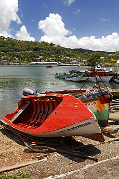 Fishing port with fishing boats, Castries, the capital city, Saint Lucia, LCA, Windward Islands, Lesser Antilles, Caribbean, Caribbean Sea