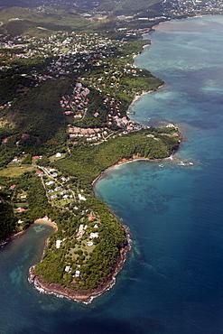 Aerial View, Castries, the capital city, coast, exclusive residential area, peninsula, Saint Lucia, LCA, Windward Islands, Lesser Antilles, Caribbean, Caribbean Sea
