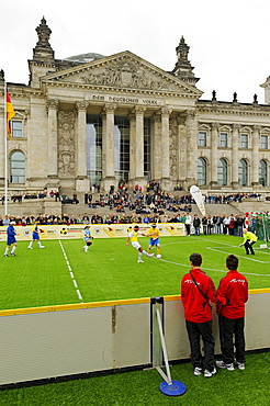 Day of Blind Football in front of the German Reichstag building, Berlin, Germany, Europe