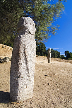 Menhir statue, archaeological site of the Neolithic Age, Filitosa, Corsica, France, Europe
