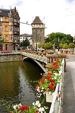 Bridge over the Neckar river to the city centre, Esslingen, Baden-Wuerttemberg, Germany, Europe