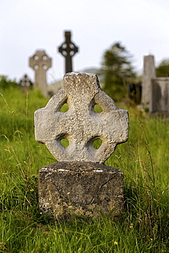 Old cemetry, Durrow High cross headstones, Sneem, Kerry, Republic of Ireland, Europe