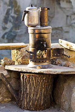 Fireplace for cooking tea, Ortahisar, Cappadocia, Anatolia, Turkey, Asia