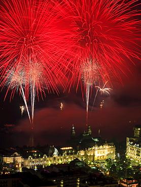 Fireworks over the Casino Monte-Carlo, Principality of Monaco, Cote d'Azur, Mediterranean, Europe