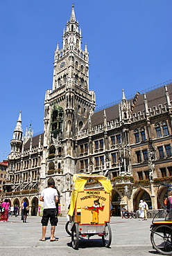 Bicycle rickshaw, New Town Hall with its tower, neo Gothic architecture, Marienplatz square, historic centre, Munich, Upper Bavaria, Germany, Europe