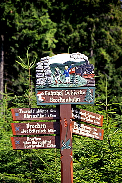 Guidepost, Brocken mountain, Harz, Saxony-Anhalt, Germany, Europe