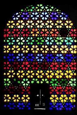 Colorful stained-glass window in the city palace of Udaipur Rajasthan, India, Asia