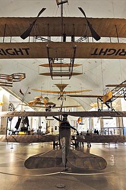 Hall of Aviation, below, Rumpler C4, double decker aircraft, 1916-1917, Deutsches Museum, Munich, Bavaria, Germany, Europe