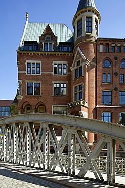 Neuerwegsbruecke Bridge, Speicherstadt, Hamburg, Germany, Europe