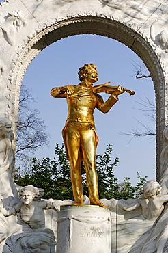 Johann Strauss Monument by Edmund Hellmer in Vienna City Park, 1st District, Vienna, Austria, Europe
