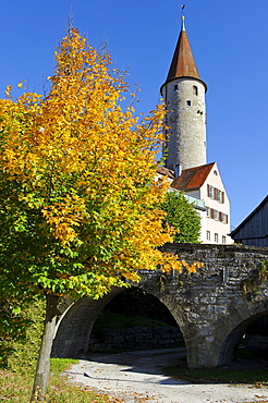 Town tower, Kirchberg an der Jagst, Baden-Wuerttemberg, Germany, Europe