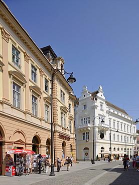 Buildings, at the rear, the Roman Emperor hotel restaurant, Sibiu, Romania, Europe