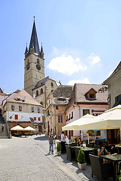 View from the lower town to the Protestant City Church, Sibiu, Romania, Europe