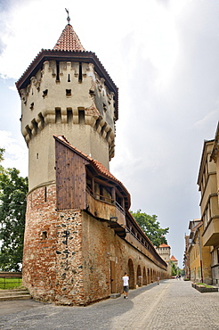 Defensive wall and tower of the craft guilds in Strada Cetatii, Sibiu, Romania, Europe