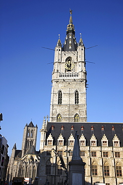 Belfry of Ghent, a medieval tower and the Cloth Hall, historic district, Ghent, East Flanders, Belgium, Europe
