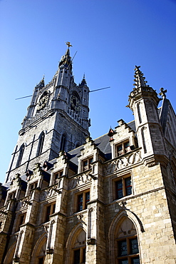 Belfry of Ghent, a medieval tower, historic district, Ghent, East Flanders, Belgium, Europe