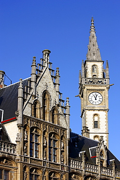 Tower of the Postgebouw former post office building, Metselaarshuis, old town, Ghent, East Flanders, Belgium, Europe