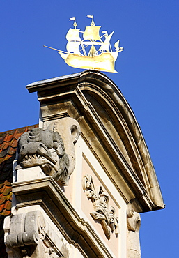 Golden sailing ship as a weathervane, old town, Ghent, East Flanders, Belgium, Europe