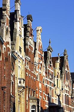 Gables of houses at the Baudelostraat on Vrijdagmarkt, Ghent, East Flanders, Belgium, Europe