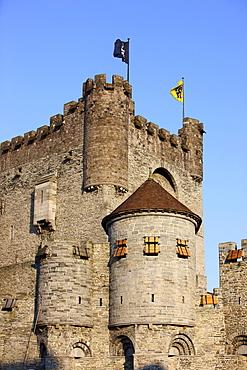 Keep of Gravensteen Castle, Ghent, East Flanders, Belgium, Europe