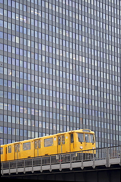 Berlin metro in front of the Postbank building, Berlin, Germany, Europe