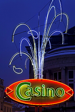 "Neon sign with the lettering ""Casino"", gambling casino in the health spa complex, Ardennes region, Liege province, Wallonia region, Belgium, Benelux, Europe"