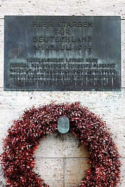 Wreath and plaque with the names of the Nazi officers who were executed, German Resistance Memorial, Bendlerblock, Berlin-Mitte, Germany, Europe