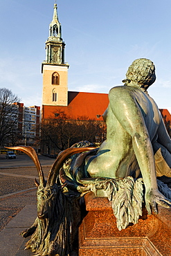 Woman with goat, allegory for the River Oder, Neptunbrunnen fountain, Marienkirche church, Mitte district, Berlin, Germany, Europe