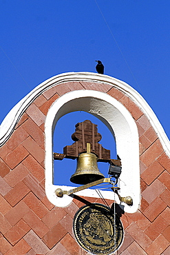 Bell on the Town Hall of Huajuapan de Leon, Oaxaca, southern Mexico, Mexico, North America