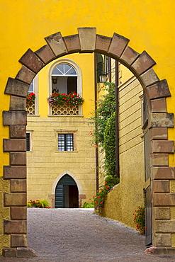 Entrance, Schloss Sallegg manor at Kaltern an der Weinstrasse, South Tyrol, Italy, Europe
