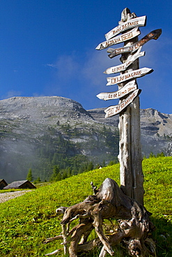 Hiking signs in Fanes-Sennes-Prags Nature Park, South Tyrol, Trentino-Alto Adige, Italy, Europe