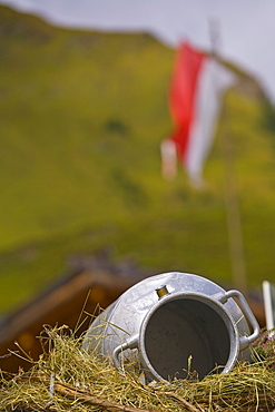 Milk can on an alpine pasture