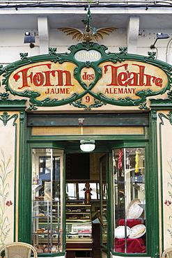 Art Nouveau facade of Forn des Teatre pastry shop, Palma de Majorca, Majorca, Balearic Islands, Spain, Europe