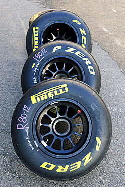 Pirelli Formula 1 racing tyres for wet weather in the paddock at the Circuit Ricardo Tormo near Valencia, Spain, Europe