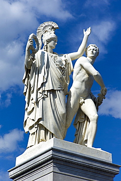 Athena and Warrior sculpture, by sculptor Albert Wolff, Museumsinsel, UNESCO World Heritage Site, Berlin, Germany, Europe