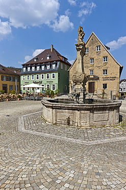Marketplace, castle square, Weikersheim, Baden-Wuerttemberg, Germany, Europe