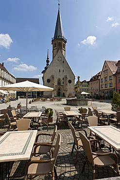 St Georg town church and marketplace, Weikersheim, Baden-Wuerttemberg, Germany, Europe