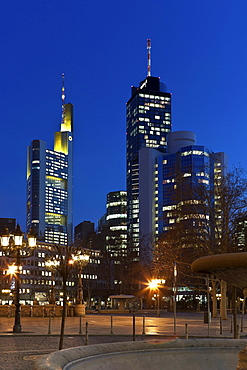 View towards the Commerzbank Tower, Hessische Landesbank Helaba and the City Group buildings, Frankfurt am Main, Hesse, Germany, Europe