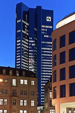 View towards the Deutsche Bank building, Frankfurt am Main, Hesse, Germany, Europev