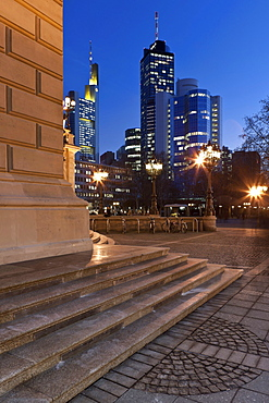 View from the Alte Oper Frankfurt towards the Commerzbank Tower, Hessische Landesbank Helaba and the City Group buildings, Frankfurt am Main, Hesse, Germany, Europe