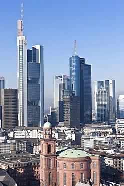 View of Frankfurt and its skyline, Commerzbank, Hessische Landesbank, Deutsche Bank, Sparkasse, DZ Bank, Paulskirche Church, Roemer city hall, Frankfurt am Main, Hesse, Germany, Europe