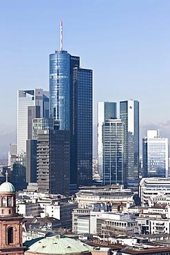 View of Frankfurt and its skyline, Hessische Landesbank, Deutsche Bank, Skyper building, Sparkasse, DZ Bank, Frankfurt am Main, Hesse, Germany, Europe