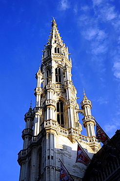 City hall with gothic tower, Hotel de Ville on the Grand Place, Stadhuis on the Grote Markt square, city centre, Brussels, Brussel, Bruxelles, Brussel, Belgium, Benelux