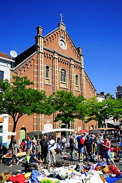 Flea market on Place du Jeu de Balle, Vossenplein, with Immaculee Conception church at back, Les Marolles, Marollen quarter, city centre, Brussels, Belgium, Benelux, Europe