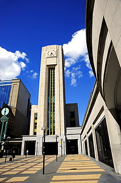 Tower at the Gare du Nord railway station, Noordstation, St Josse quarter, Brussels, Belgium, Benelux