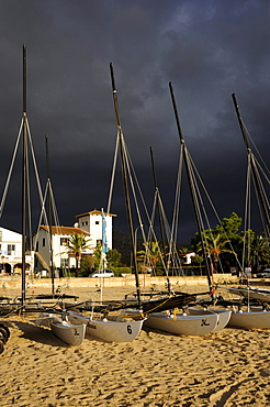 Catamaran sailing boats, beach with stormy sky, Puerto de Pollensa, Port de Pollenca, Mallorca, Majorca, Balearic Islands, Mediterranean Sea, Spain, Europe