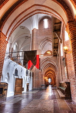 The aisle in Roskilde Cathedral in Denmark, Europe