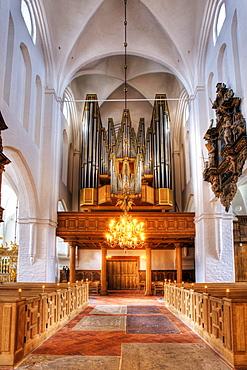 The organ in Sct. Olai Domkirke cathedral, Helsingor, Elsinore, Denmark, Europe